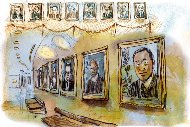 Les portraits des sécrétaires généraux au siège de l'ONU. © Illustration Damien Roudeau.