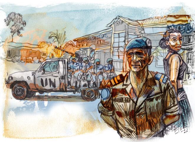 Les missions de la paix en RDC-Congo et en Centrafrique sont les plus concernées par les scandales. © Illustration Damien Roudeau.