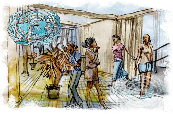 À Uvira, l'hôtel qui serait devenu un « hot spot » de la prostitution © Illustration Damien Roudeau.