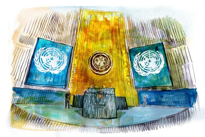 La sala de la Asamblea General de Naciones Unidas en Nueva York. © Illustration Damien Roudeau
