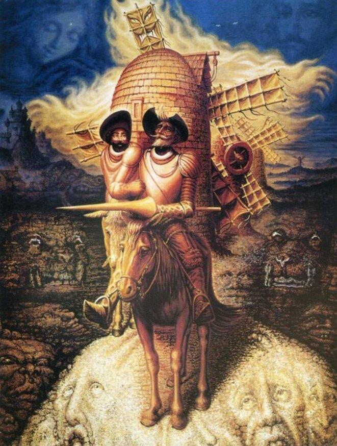 """Octavio Ocampo, """"Visions of Quixote"""", huile sur toile, 1989"""