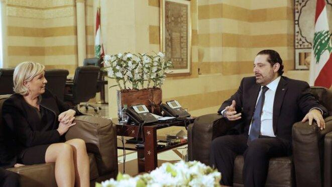 Marine Le Pen en visite chez le premier ministre Saad Hariri à Beyrouth © RTS
