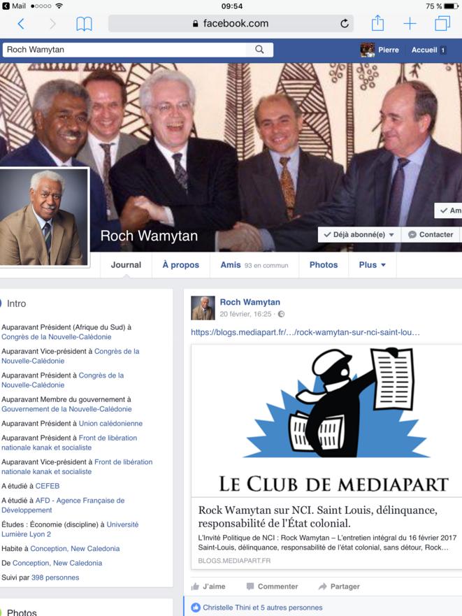 Capture d'écran du profil Facebook de Roch Wamytan. Le 20 février 2017.