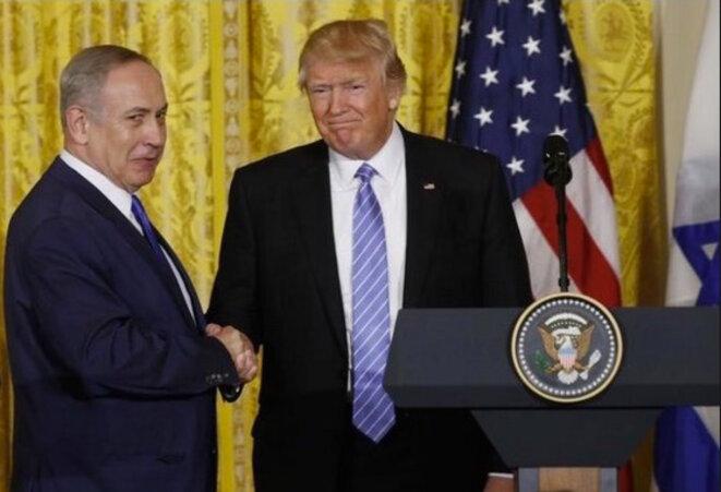 Benjamin Netanyahou et Donald Trump, à l'issue de la conférence de presse à Washington, le 17 février 2017.