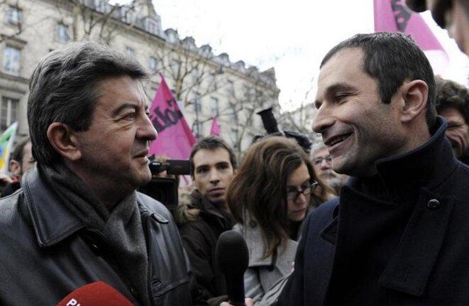 Jean-Luc Mélenchon et Benoît Hamon, en janvier 2010. © Reuters