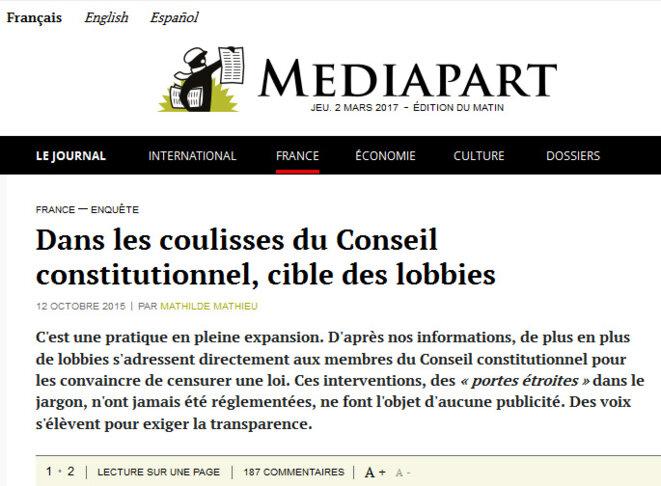 copie d'écran www.mediapart.fr