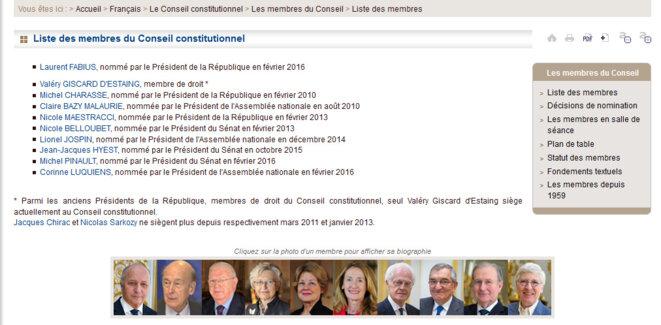 copie d'écran www.conseil-constitutionnel.fr