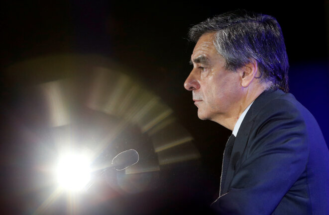 François Fillon en meeting à Nîmes, le 2 mars. © Reuters
