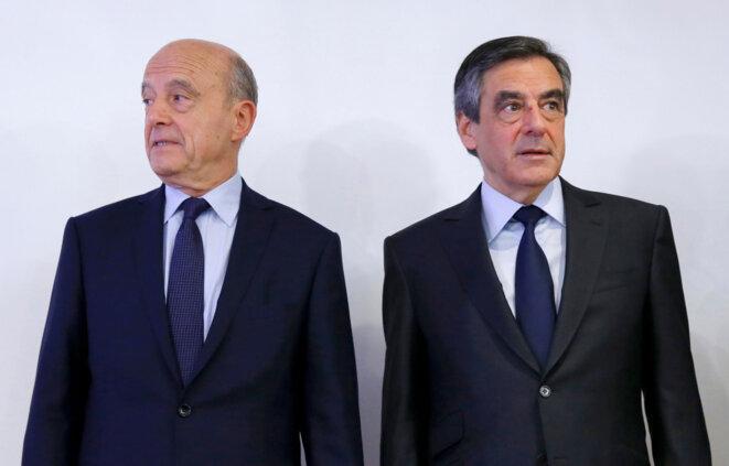 Alain Juppé et François Fillon au soir du second tour de la primaire, le 27 novembre 2016. © Reuters