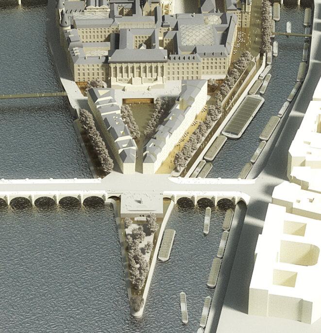 Aménagement de la place Dauphine, c Dominique Perrault Architectes