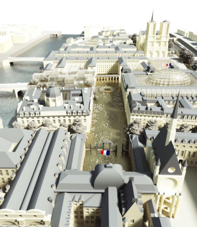 Place de Lutèce, c Dominique Perrault Architectes. Le drapeau est là. Mais où sont les voitures ?