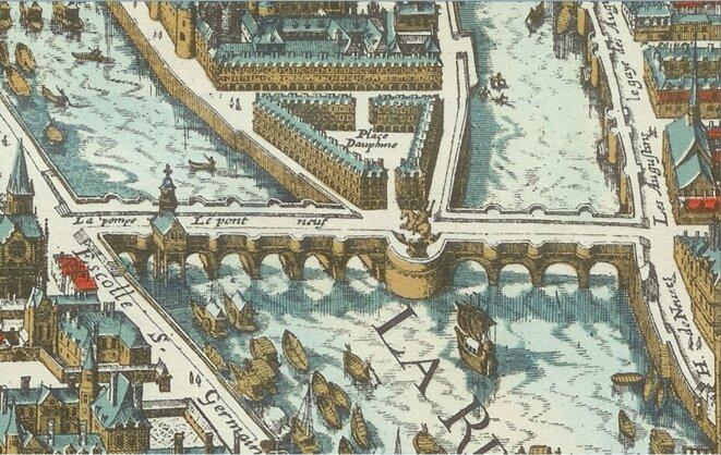 Détail du plan de Mérian, 1615, avec la géométrie de l'ensemble déjà idéalisée / repolitisée