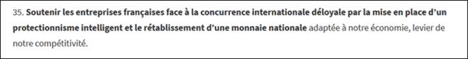 Soutenir les entreprises françaises face à la concurrence internationale déloyale par la mise en place d'un protectionnisme intelligent et le rétablissement d'une monnaie nationale