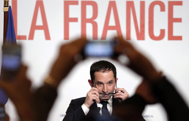 Benoît Hamon on the evening he won the socialist primary election in January 2017. © Reuters