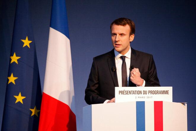 Emmanuel Macron lors de la présentation de son programme le 2 mars © Reuters
