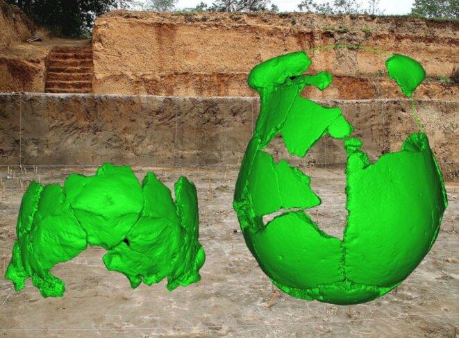 Reconstitution des crânes en surimpression sur une photo du site de Lingjing où ils ont été retrouvés © Xiu-Jie Wu