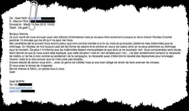 Mail adressé par Gaël Nofri à Marine Le Pen © Mediapart et Marianne