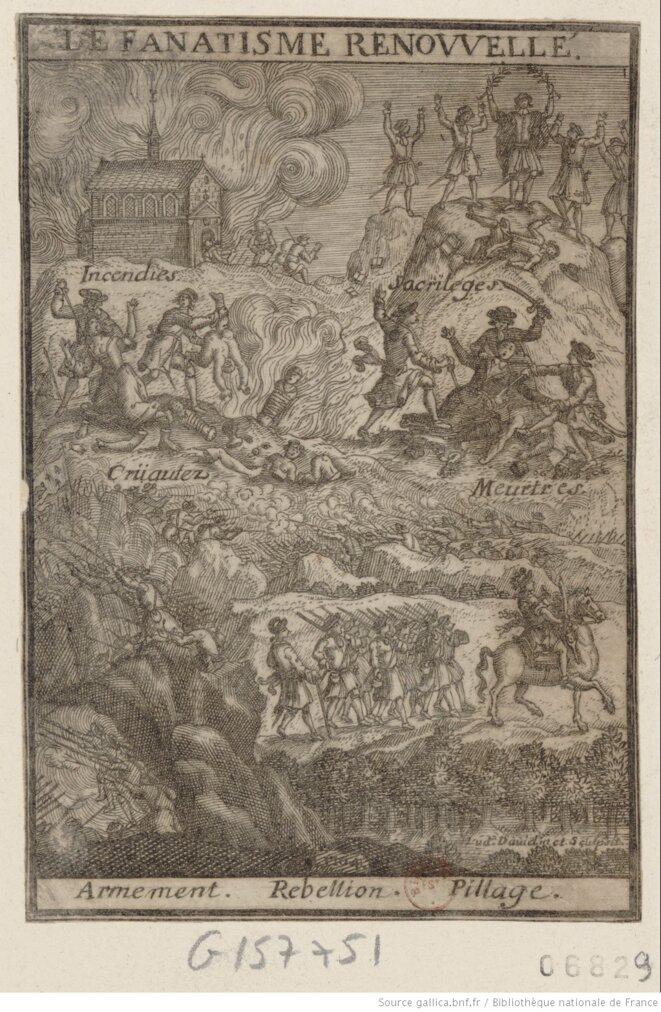 Estampe intitulée « Le fanatisme renouvelé » de David Lud (graveur), 1703-1704, Collection Michel Hennin, BNF. Source : www.gallica.bnf.fr