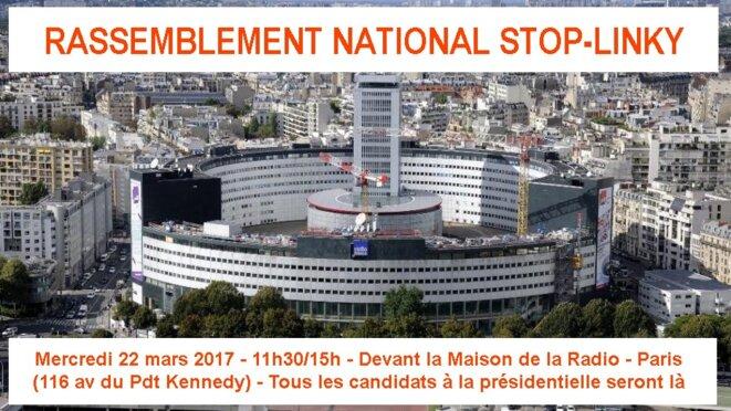 Rassemblement anti-Linky devant Maison de la Radio Paris