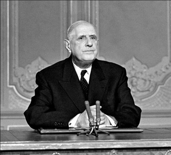 Le président De Gaulle, lors d'une conférence de presse