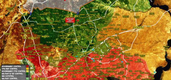 situation dans le nord du gouvernorat d'Alep à la mi-Mars d'après South Front