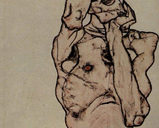 Egon Schiele, dessin (détail)