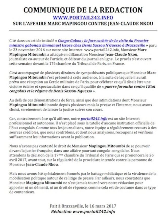 Le COMMUNIQUE de la rédaction du portail242.info sur le procès Marc Mapingou contre Jean-Claude Nkou à Paris