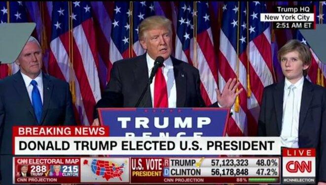 Donald Trump lors du discours de sa victoire. © Capture d'écran CNN