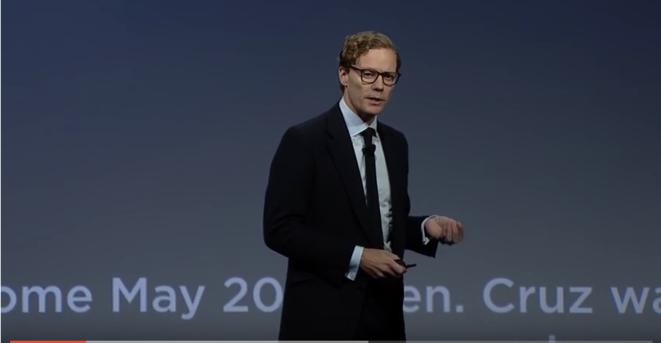 En 2016, à New York, Alexander Nix, le PDG de SCL-Cambridge Analytica, lançait au cours d'une conférence : « Nous sommes capables de construire un modèle pour prédire la personnalité de chacun des adultes aux États-Unis. » © Alexander Nix lors de sa conférence donnée aux Etats-Unis