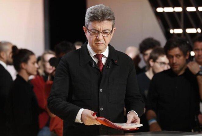 Jean-Luc Mélenchon, jeudi soir, sur le plateau de TF1 © Reuters