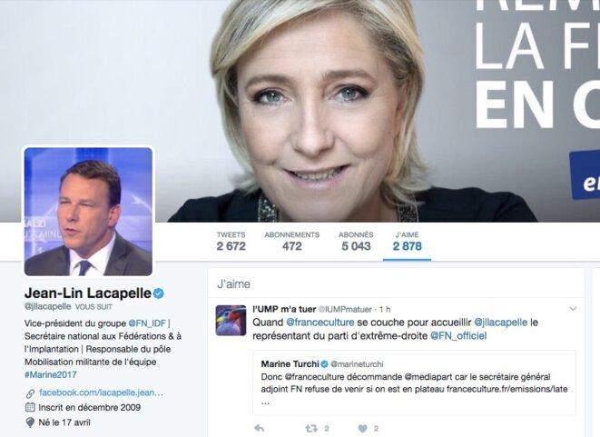 Sur le compte Twitter de Jean-Lin Lacapelle, le 20 mars.