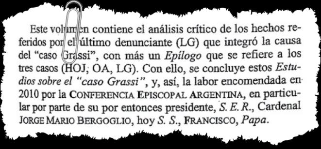 Un extrait des « Études sur le cas Grassi » commandées par le cardinal Bergoglio (actuel pape François) © DR