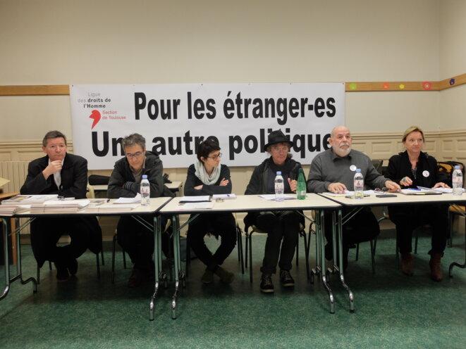 Conférence de presse au siège de la Ligue des Droits de l'Homme, le 21 mars à Toulouse, avec Frédéric Rodriguez, Yves Loridon, Pascale Cabrolier, Daniel Welzer-Lang, Jean-François Mignard et Monique Langevine [Ph. YF]