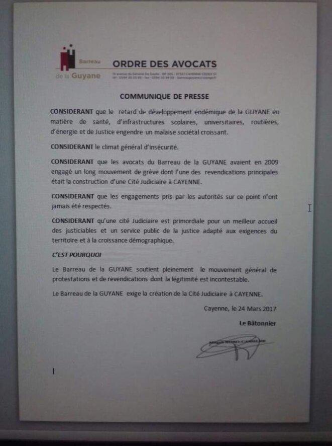 Communiqué de presse du Barreau de la Guyane qui exige lacérations de la Cité Judiciaire à CAYENNE