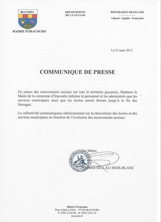 Communiqué de presse de la mairie dIRACOUBO.