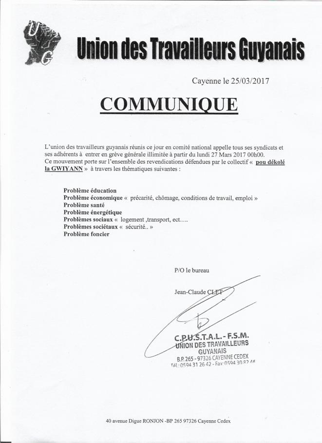 le communiqué du Comité National de l'UTG appelant à la Grève Générale illimitée lundi 27 mars à 00h00.