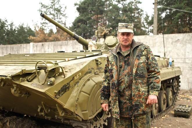 Valentin Lyholit, commandant du bataillon Aïdar en septembre 2014. © Laurent Geslin