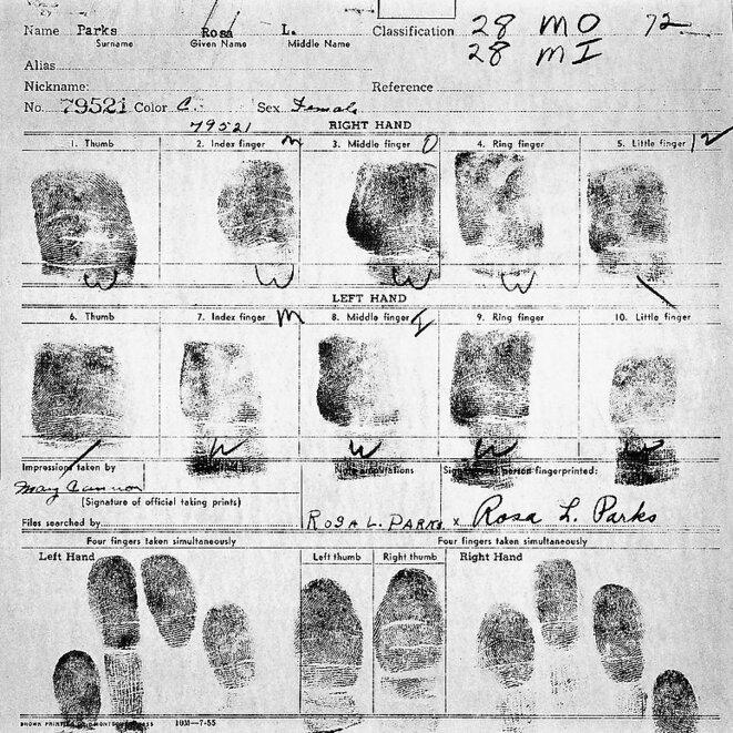 Empreintes digitales de Rosa Parks © DR (libre de droits, réutilisation et modification autorisées)