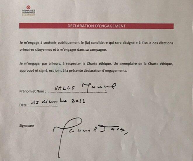 L'engagement signé de Manuel Valls lors de la primaire du PS