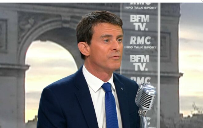Manuel Valls au micro de RMC pour annoncer son vote à Emmanuel Macron (capture d'écran)