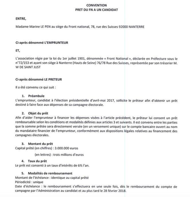 Extrait de la convention de prêt entre le Front national et Marine Le Pen. © Mediapart