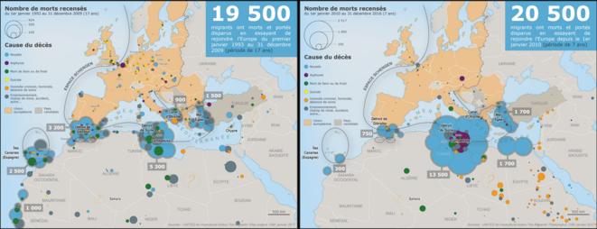 La carte des morts en deux periodes © Nicolas Lambert