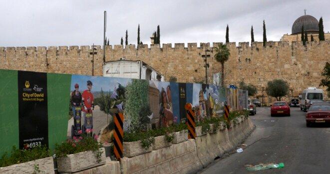 Les fouilles de la cité de David, en contrebas de la mosquée Al-Aqsa. © Chloé Demoulin.