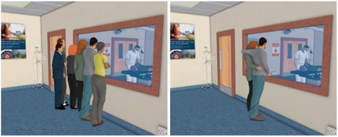 Fig 2 Les perspectives différentes sur un professionnel au travail. L'illustration de gauche montre un chirurgien donnant un commentaire en direct de son opération à des étudiants en médecine. L'illustration de droite montre le même commentaire donné aux parents de l'enfant subissant l'opération.