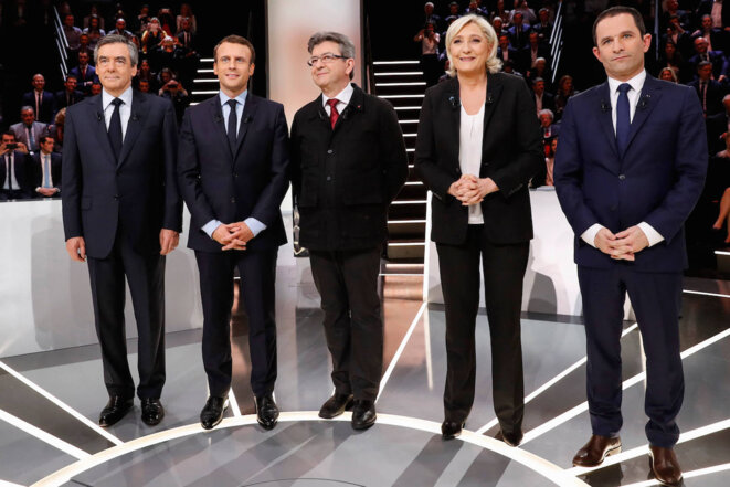 The five main candidates at a televised debate on TF1 on 20th March, 2017. © REUTERS