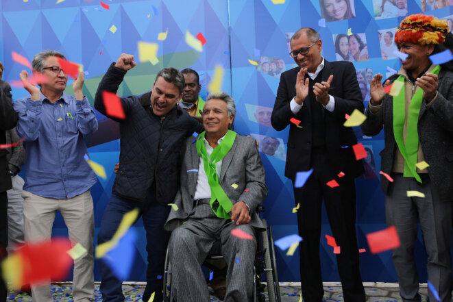 Mardi 4 avril à Quito, Lenin Moreno célèbre la victoire. © Reuters