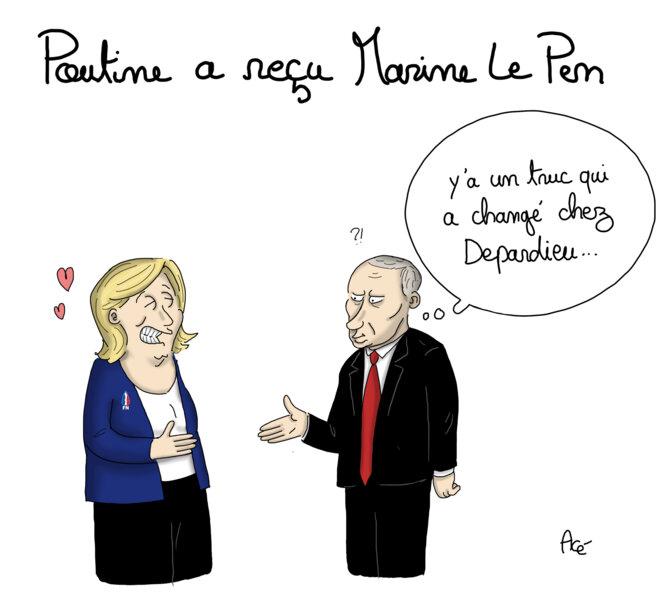 Pour Marine Le Pen, c'est plus calme à Moscou qu'à Paris (Dessin d'Acé) © Acé
