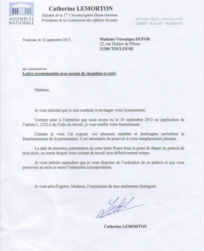 La lettre de licenciement adressée à Véronique Dufor. © DR