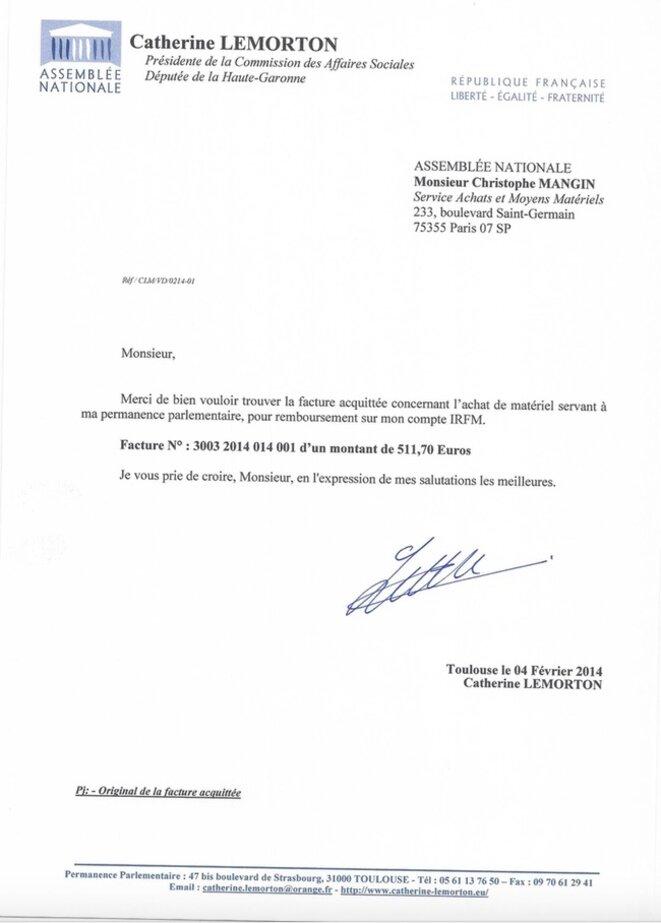 Le courrier de Catherine Lemorton au trésorier de l'Assemblée nationale pour se faire rembourser sur son compte IRFM l'ordinateur destiné à sa fille. © DR
