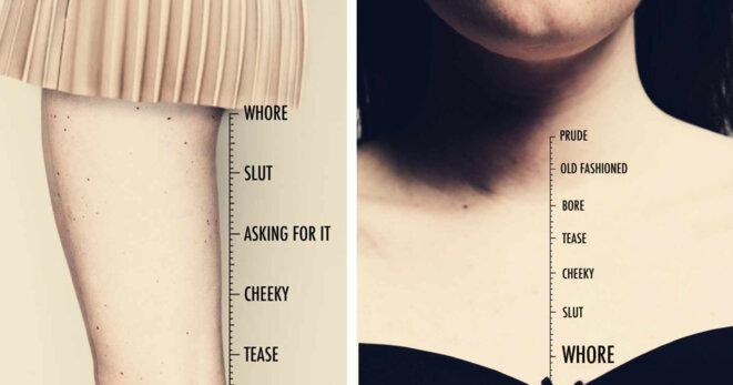 """""""Prude - Ringarde - Chiante - Allumeuse - Effrontée - Ne demande que ça - Salope -Pute"""" © Terre de Femmes"""